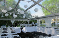 Beautiful Transparent Fabric clear top tent rental , outdoor party tents Decorated with Lantern