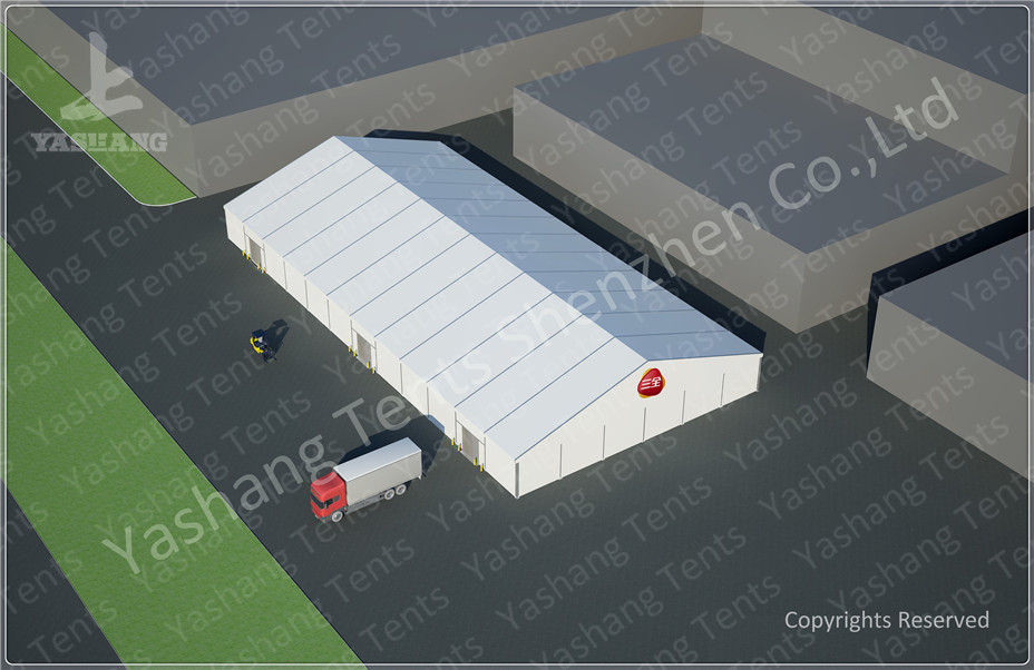 Durable Removable Outside Aluminum Storage Tent , Temporary  Tent 30X60 M Flame Retardant in Food Industry