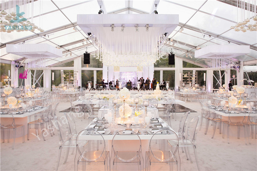 Luxury Clear Wedding Tent , Party Event Clear Top Tent Marquee 200~300 People Banquet
